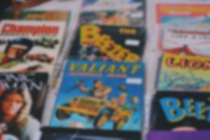 Comic books and magazines blurred out