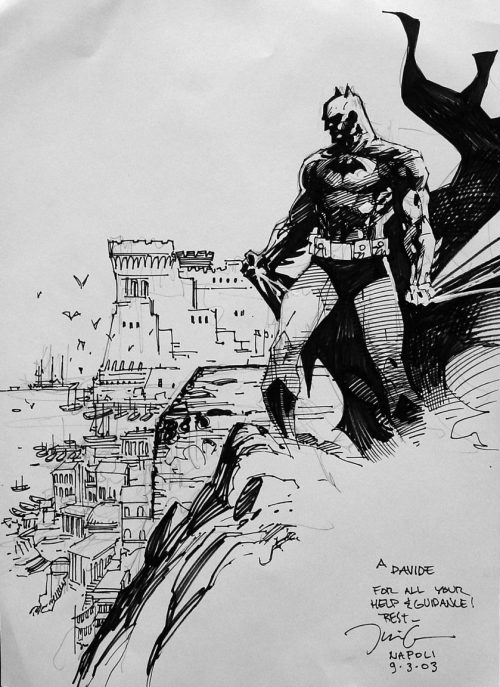 jim lee sketch of batman standing on a cliff