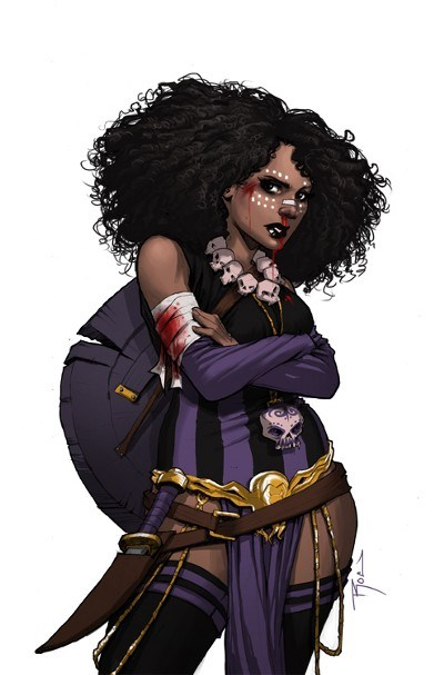 dee from rat queens standing with crossed arms