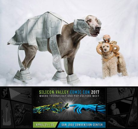 dogs cosplaying as at-at from star wars and a bantha