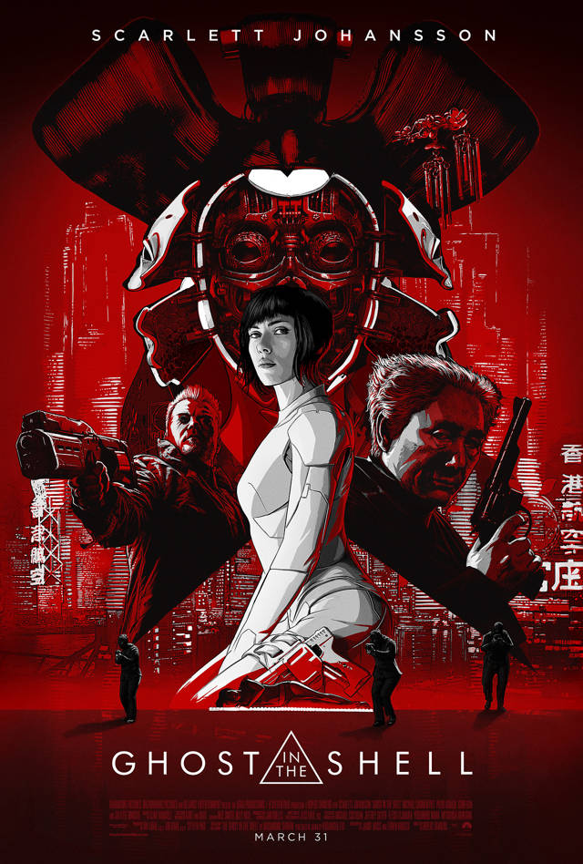 ghost in the shell movie poster in cartoon style