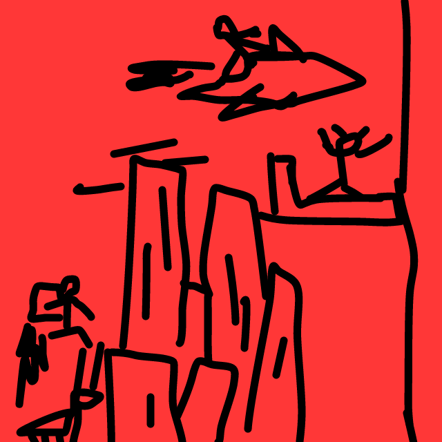 crappy drawing of some buildings, a guy on a platform, some spaceship thing, and jetpack dude