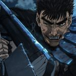 Guts grinning with his sword