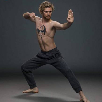iron fist shirtless in a pose