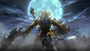link vs some big monster on a moonlit night