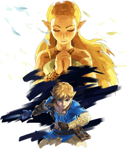 zelda and link in a painting style