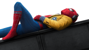 spiderman laying down on a wall