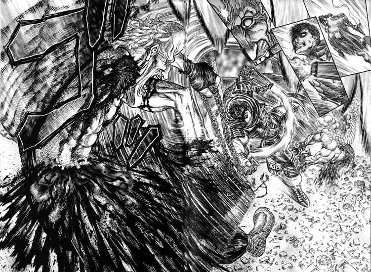 guts slicing another mozgus lackey with his sword