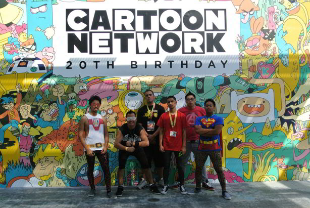 group picture of friends in tights at cartoon network offsite event