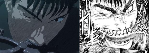 guts biting an eye plucker anime vs manga comparison