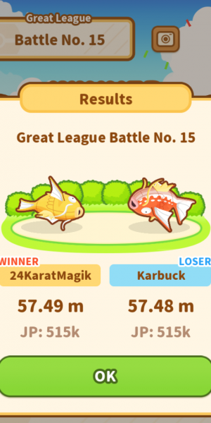 the update league battle result screen