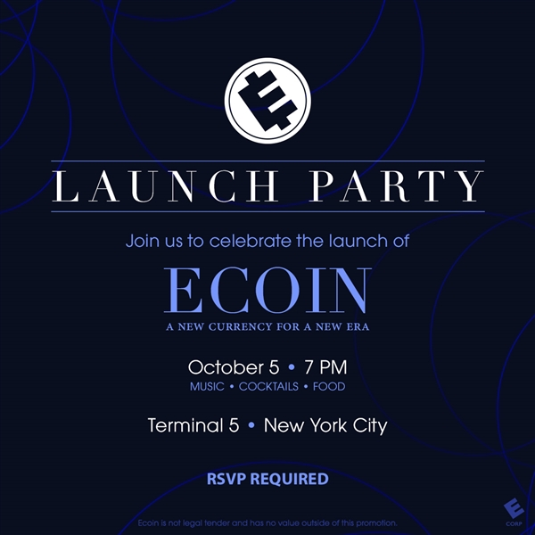 ecoin launch party promo flyer