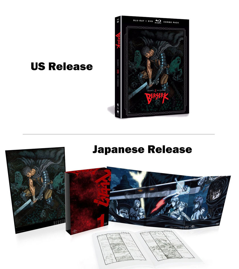 comparison of berserk 2016 us blu ray set vs japanese blu ray set