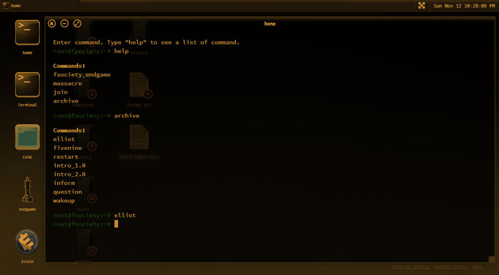 command prompt window on the who is mr robot game