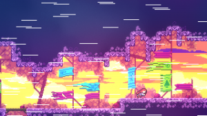 speed effects in celeste as player runs past flags on a level