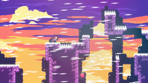 celeste level design with spikes on floors and places to jump to