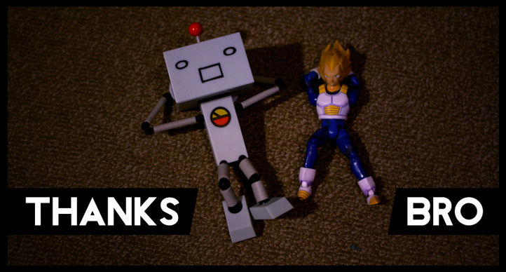 robot and vegeta relax on the carpet