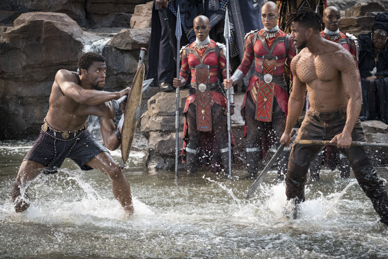 killmonger and t'challa face off in a duel at the waterfall