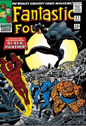 comic book cover of fantastic four #52, the first appearance of black panther in comics