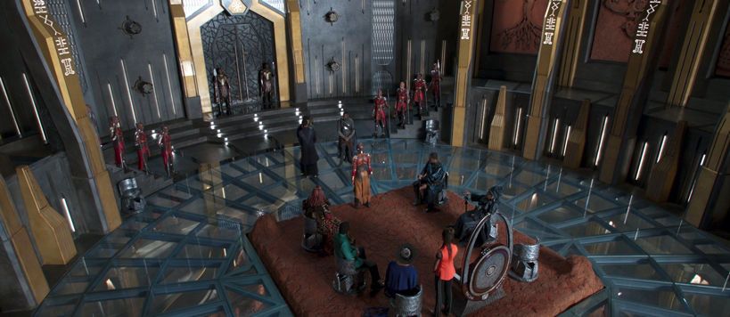 overhead shot of the wakandan throne room