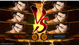 dbfz character selection splash screen showing all adult gohans selected