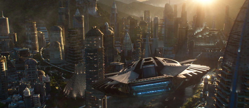 wide angle shot of the wakandan city skyline and t'challa's ship