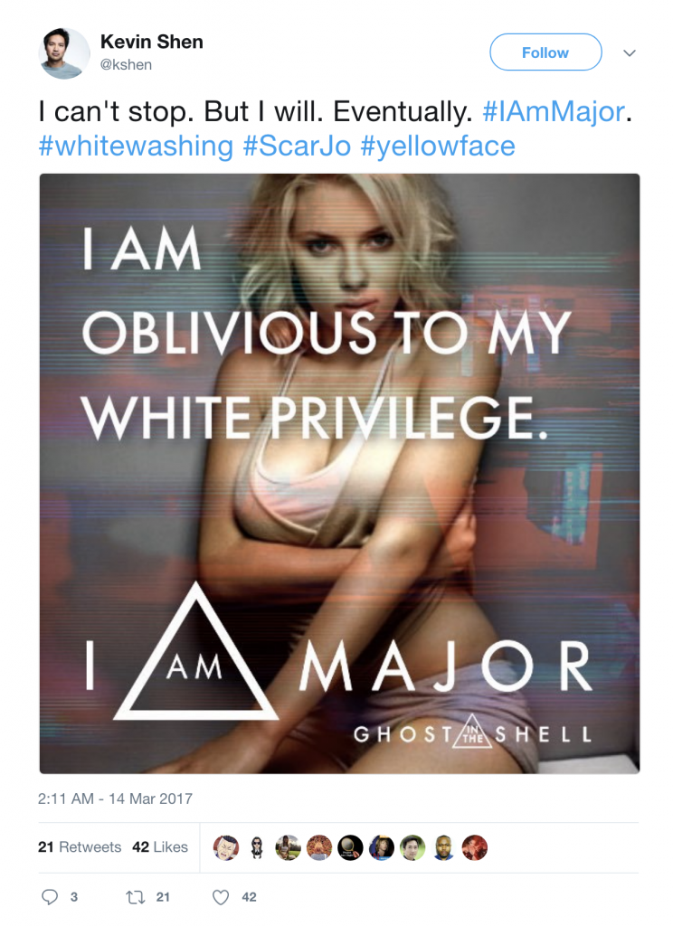 "Meme that says ""I am oblivious to my white privilege."" superimposed over Scarlett Johansson"