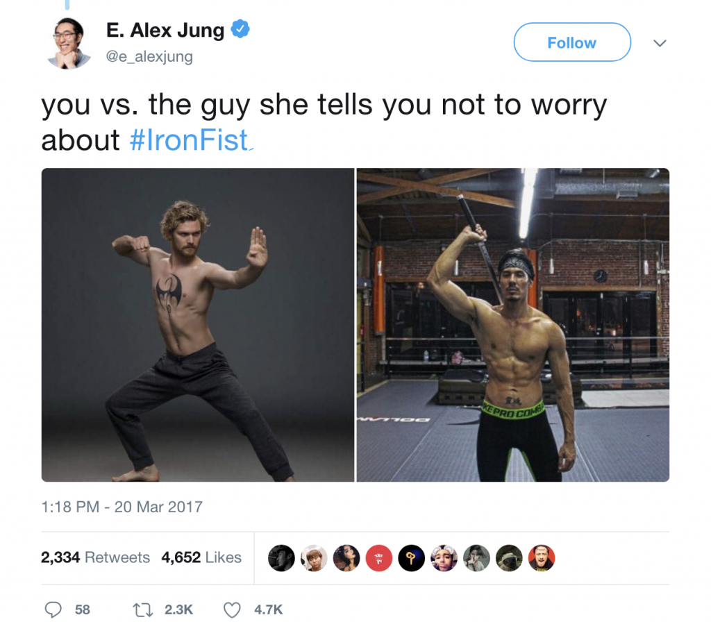 "Meme that says ""you vs. the guy she tells you not to worry about"" with Finn Jones on the left and an Asian actor on the right"