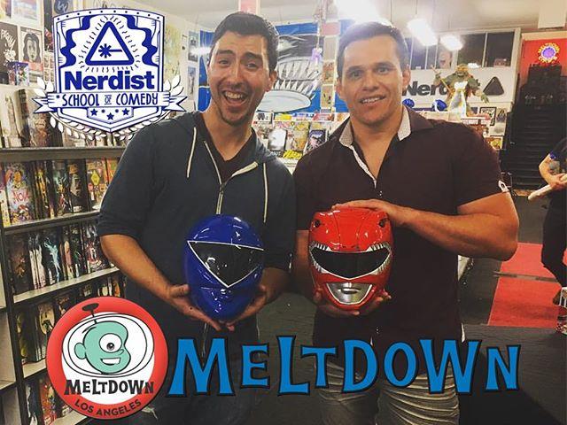 steven and red ranger pose together at meltdown