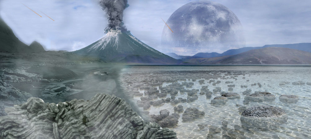 Archean eon artist representation showing a volcano, stromatolites, rocky surface, and meteorites