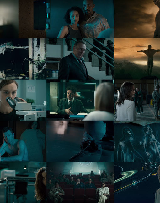 collage of movie scenes showing how often blue is used in the color palette
