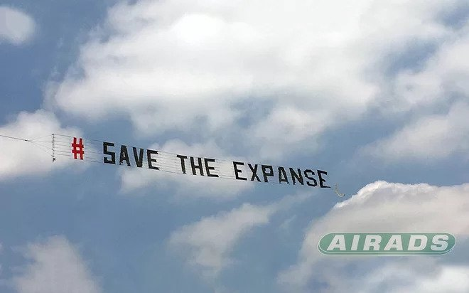 save the expanse banner in the air above amazon studios