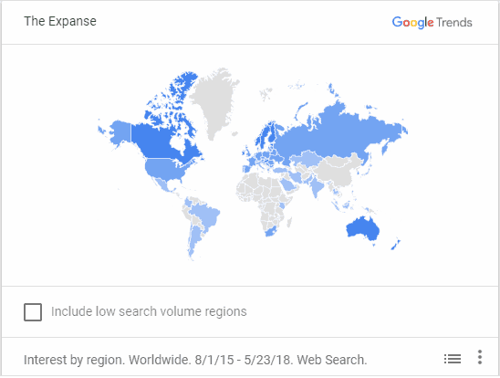 interest heat map for the expanse showing all the countries its trending in. Canada, australia, and nordic countries are tops but also strong interest in usa, south america, and europe