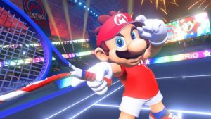mario looks at the payer, swinging his racket